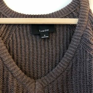 Sweaters - Open Shoulder brown sweater